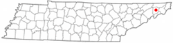 Location of Jonesborough, Tennessee