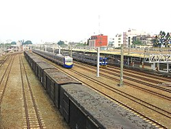 TRA freight cars, EMU700 and EMU500 at Chiayi Station 20081227.jpg