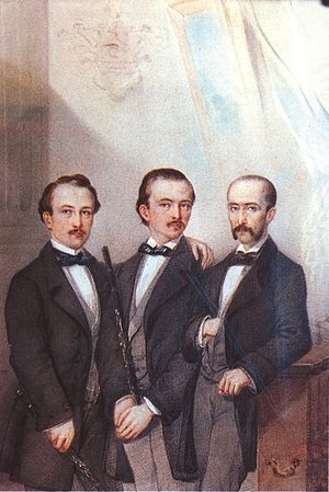 Luigi Hugues - Anonymous Piedmontese 19th century, Trio Hugues: (from left) Costantino Nigra – famous politician – Felice Hugues and Luigi Hugues.