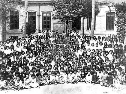 Students of School for Girls, Tehran, 13 August 1933. This photograph may be of the students of Tarbiyat School for Girls which was established by the Baha'i Community of Tehran in 1911; the school was closed by government decree in 1934. Tarbiyat School, Tehran, ca 1911.jpg
