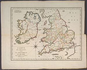 Invasion of England - This map by Pierre-Francois Tardieu in 1798 shows attempted invasions of England and Ireland from 1066 to 1797.