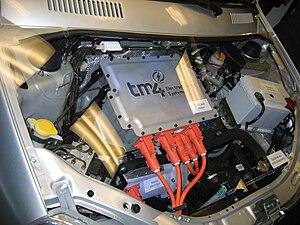 Economy of Quebec - Tata Indica EV engine bay featuring TM4 MФTIVE electric motor