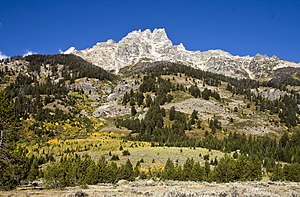 Teewinot Mountain - East face of Teewinot Mountain from Jackson Hole