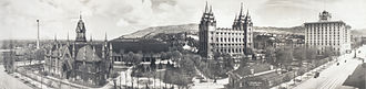 National and ethnic cultures of Utah - Salt Lake City. Panorama from South Temple Street taken in 1912