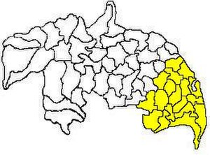 Tenali revenue division - Mandals in Tenali revenue division (in yellow) of Guntur district