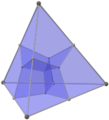 Tesseract tetrahedron shadow with alternating vertex colors.png