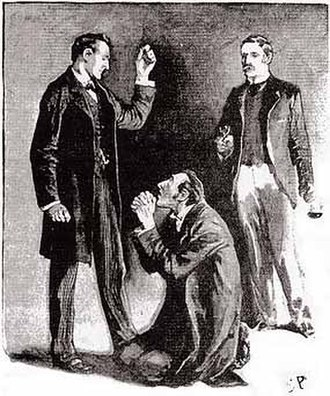 The Adventure of the Blue Carbuncle - James Ryder imploring Holmes' mercy