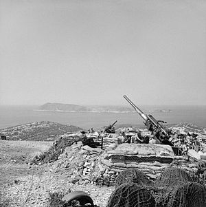 Adriatic Campaign of World War II - 3.7-inch guns of British 64th Heavy Anti-Aircraft Regiment on the island of Vis off the coast of Yugoslavia, August 1944.