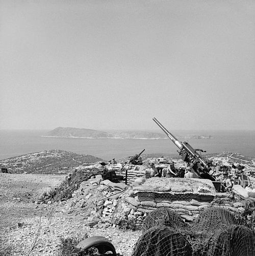 3.7-inch guns of British 64th Heavy Anti-Aircraft Regiment on the island of Vis off the coast of Yugoslavia, August 1944. The British Army in the Adriatic 1944 NA18246.jpg