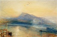 The Dark Rigi: The Lake of Lucerne (showing the Rigi at sunrise), 1842, watercolor on paper