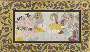 Bhishma Parva - Bhishma on his deathbed of arrows. From the collection of the Smithsonian Institution