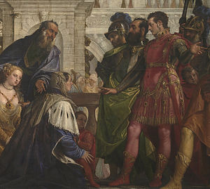 The Family of Darius before Alexander - Image: The Family of Darius before Alexander by Paolo Veronese 1570 fragment