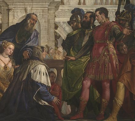 A 16th-century Italian impression of the family of Darius III, emperor of Persia, before their conqueror, Alexander the Great. Machiavelli explained that in his time the Near East was again ruled by an empire, the Ottoman Empire, with similar characteristics to that of Darius - seen from the viewpoint of a potential conqueror. The Family of Darius before Alexander by Paolo Veronese 1570 fragment.jpg