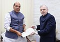 The Governor of Kerala, Justice (Retd.) P. Sathasivam calling on the Union Home Minister, Shri Rajnath Singh, in New Delhi on August 25, 2018.JPG