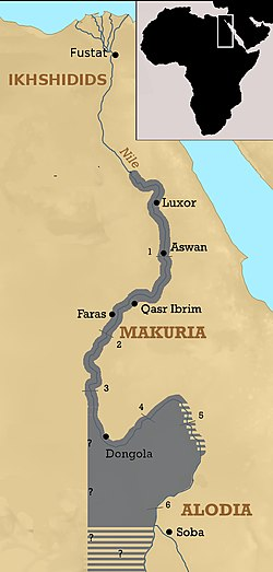 The kingdom of Makuria at its maximum territorial extent around 960