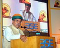 The Minister of State for Finance and Corporate Affairs, Shri Arjun Ram Meghwal addressing the gathering at the Listing Ceremony of the Municipal Bonds of Pune Municipal Corporation, at the BSE, in Mumbai on June 22, 2017.jpg