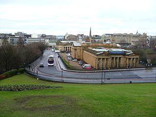 The Mound street in Edinburgh, Scotland