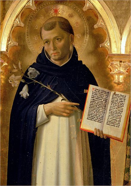 Saint Dominic (1170-1221), portrayed in the Perugia Altarpiece by Fra Angelico. Galleria Nazionale dell'Umbria, Perugia. The Perugia Altarpiece, Side Panel Depicting St. Dominic.jpg