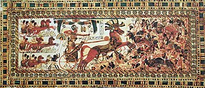 image of The Pharaoh Tutankhamun destroying his enemies
