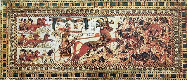Тутанхамон на колеснице. Изображение из гробницы в Долине царей
