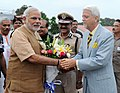 The Prime Minister, Shri Narendra Modi being seen off by the Governor of Goa, Shri Bharat Vir Wanchoo, on his departure from Goa to Delhi, at INS Hansa Naval Base, in Goa on June 14, 2014.jpg