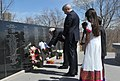 The Prime Minister, Shri Narendra Modi laying wreath ceremony at the Air India Memorial Site, in Toronto, Canada on April 16, 2015. The Prime Minister of Canada, Mr. Stephen Harper is also seen.jpg