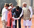 The Prime Minister, Shri Narendra Modi welcomes the Prime Minister of Canada, Mr. Justin Trudeau and his Family, at the Ceremonial Reception, at Rashtrapati Bhavan, in New Delhi on February 23, 2018 (1).jpg