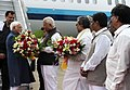 The Vice President, Shri M. Hamid Ansari being received by the Governor of Karnataka, Shri Vajubhai Rudabhai Vala, on his arrival, in Mysuru on July 22, 2016. The Chief Minister of Karnataka, Shri Siddaramaiah is also seen.jpg