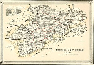 West Lothian - 1868 map of Linlithgowshire showing parishes.