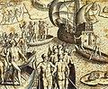 Theodor de Bry - Ataque de Portugueses e Tupiniquins às Cabanas Tupinambás.jpg