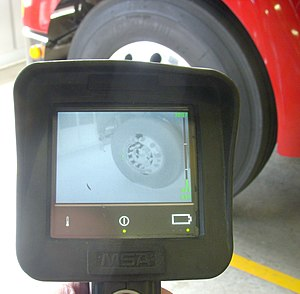 Thermal imaging camera - A view of a truck tire through a thermal imaging camera