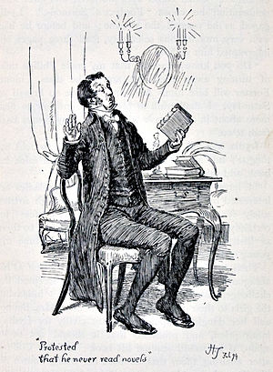 "Mr. William Collins - Mr Collins ""protested that he never read novels"" by Hugh Thomson, 1894"