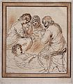 Three figures contemplate a dead woman. Etching by James Bas Wellcome V0042266.jpg