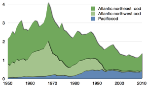 Global commercial capture of Atlantic and Pacific cod in million tonnes reported by the FAO 1950–2010[44]