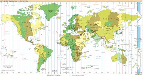 UTC−12: blue (December), orange (June), yellow (all year round), light blue  (sea areas)