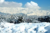 Northern part of Tehran with Tochal mountain on the background.