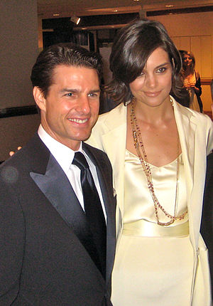 Cropped image of Tom Cruise and Katie Holmes. ...