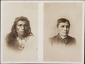 Richard Henry Pratt - Tom Torlino, Navajo, before and after. Photograph from the Richard Henry Pratt Papers, Yale University. Circa 1882.