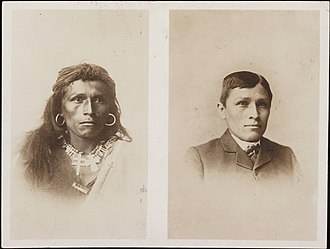 Richard Henry Pratt - Tom Torlino, Navajo, before and after. Photograph from the Richard Henry Pratt Papers, Yale University. Circa 1882.