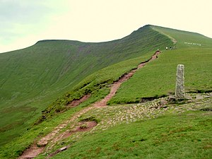 Corn Du - The Tommy Jones obelisk with Pen y Fan at left and Corn Du at right