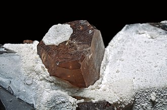 Topaz - Topaz crystal on white matrix