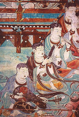 Sheng (instrument) - Buddhist art from the Yulin Caves, Tang dynasty showing musicians playing various instruments including a sheng