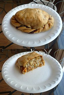 Traditional Yooper pasty, Munising, Michigan, June 2009.jpg