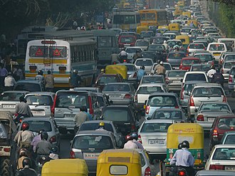 Traffic congestion - India's economic growth has resulted in a massive increase in the number of private vehicles on its roads overwhelming the transport infrastructure. Shown here is a traffic jam in Delhi.