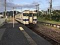 Train for Haruda Station at Chikuzen-Yamae Station.jpg