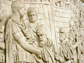 Roman Dacia - Trajan receives homage from a Dacian chieftain who has betrayed Decebalus.