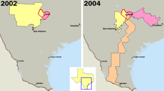 Gerrymandering - U.S. congressional districts covering Travis County, Texas (outlined in red) in 2002, left, and 2004, right. In 2003, the majority of Republicans in the Texas legislature redistricted the state, diluting the voting power of the heavily Democratic county by parcelling its residents out to more Republican districts.