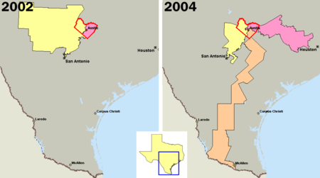 U.S. congressional districts covering Travis County, Texas (outlined in red) in 2002, left, and 2004, right. In 2003, the majority of Republicans in the Texas legislature redistricted the state, diluting the voting power of the heavily Democratic county by parceling its residents out to more Republican districts. In 2004 the orange district 25 was intended to elect a Democrat while the yellow and pink district 21 and district 10 were intended to elect Republicans. District 25 was redrawn as the result of a 2006 Supreme Court decision. In the 2011 redistricting, Republicans divided Travis County between five districts, only one of which, extending to San Antonio, elects a Democrat. TravisCountyDistricts.png