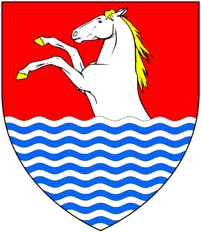 Arms of Trevelyan: Gules, a demi-horse argent hoofed and maned or issuing out of water in base proper TrevelyanArms.png