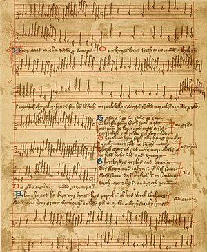 Trinity Carol Roll - Facsimile of the Agincourt Carol in the Trinity Carol Roll (Trinity MS O.3.58)